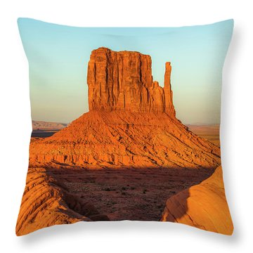 Left Mitten Sunset - Monument Valley Throw Pillow