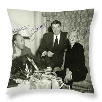 Throw Pillow featuring the photograph Lefty O Doul Joe Dimaggio And Marilyn Monroe Circa 1955 by Peter Gumaer Ogden