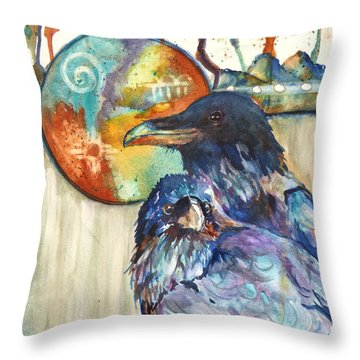 Throw Pillow featuring the painting Legend Of The Raven by P Maure Bausch