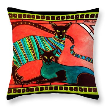 Legend Of The Siamese - Cat Art By Dora Hathazi Mendes Throw Pillow