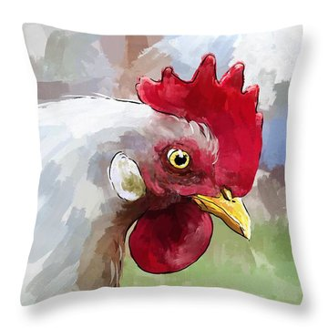 Leghorn Hen Throw Pillow