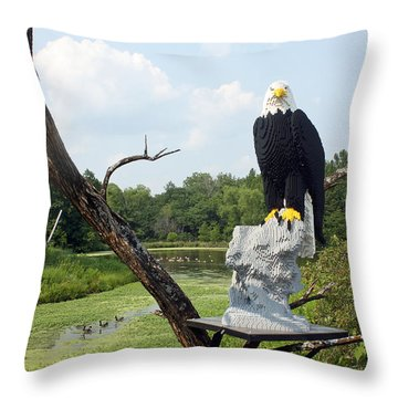 Throw Pillow featuring the photograph Lego Eagle Display by Ellen Tully