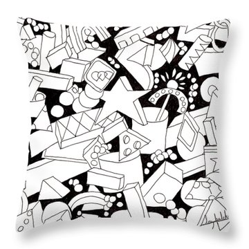 Throw Pillow featuring the drawing Lego-esque by Lou Belcher