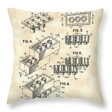 Lego Patent 1958 - Vintage Throw Pillow by Stephen Younts