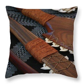 Lei O Mano Hawaiian Koa Shark Teeth Dagger And War Clubs Throw Pillow by Sharon Mau