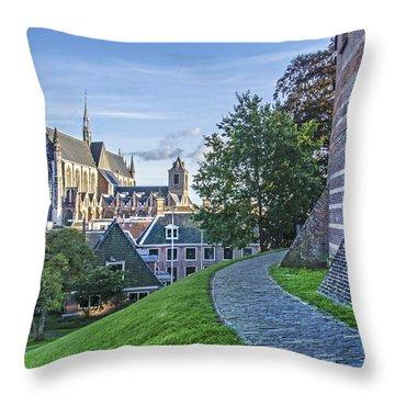 Leiden, The Church And The Castle Throw Pillow