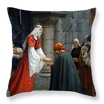 Leighton Edward Blair Charity Of St Elizabeth Of Hungary Throw Pillow