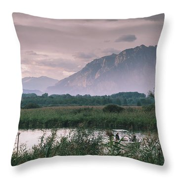 Leisure Boat On River Adda In Northern Italy, Close To Lake Como - Reflection Of Italian Alps Throw Pillow