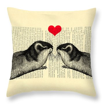 Lemmings In Love Throw Pillow