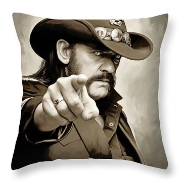 Throw Pillow featuring the painting Lemmy Kilmister Motorhead Artwork 1 by Sheraz A