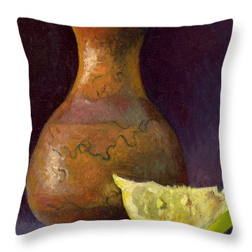 Lemon And Horsehair Vase A First Meeting Throw Pillow