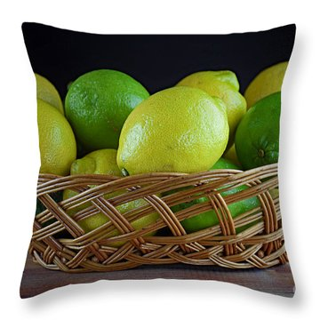 Lemon And Lime Basket Throw Pillow