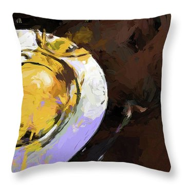 Lemon Bowl Fork Green Throw Pillow