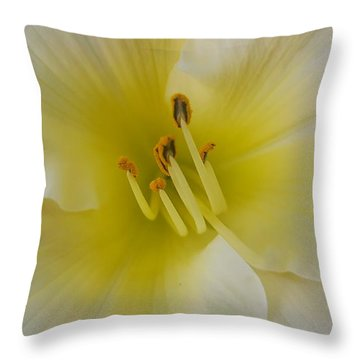 Lemon Daylily Throw Pillow