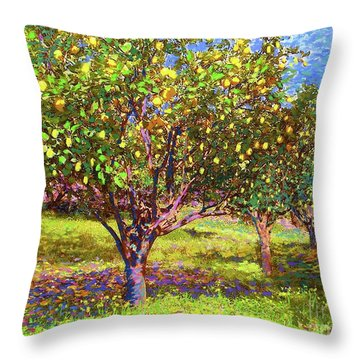 Lemon Grove Of Citrus Fruit Trees Throw Pillow