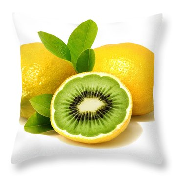 Throw Pillow featuring the digital art Lemon Kiwi by ISAW Company