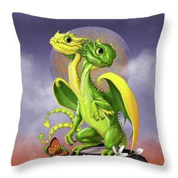 Lemon Lime Dragon Throw Pillow by Stanley Morrison