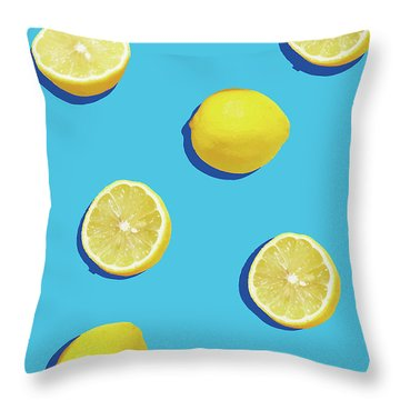 Lemon Pattern Throw Pillow by Rafael Farias
