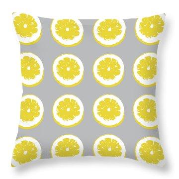 Lemon Slices On Grey- Art By Linda Woods Throw Pillow