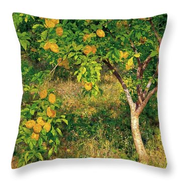 Throw Pillow featuring the painting Lemon Tree by Henry Scott Tuke