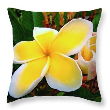 Lemon Yellow Plumeria Throw Pillow