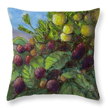 Lemons And Berries Throw Pillow by Laurie Morgan