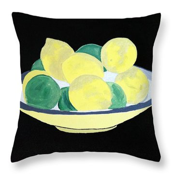Lemons And Limes In Bowl Throw Pillow
