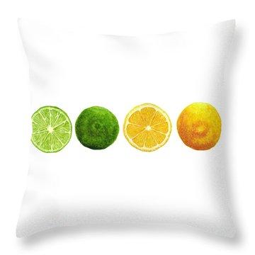 Lemons And Limes Throw Pillow by Kathleen Skinner