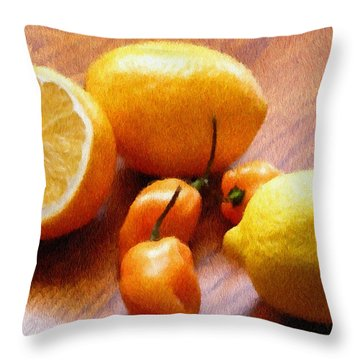 Lemons And Peppers Throw Pillow by Jeff Kolker