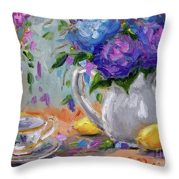 Throw Pillow featuring the painting Lemons And Purple  by Jennifer Beaudet