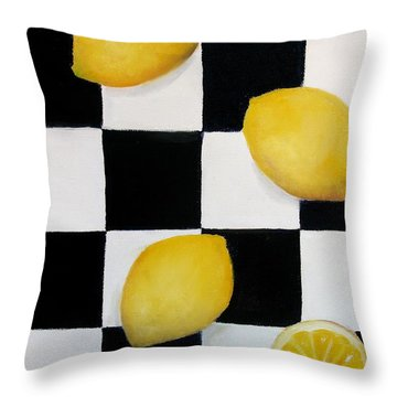 Throw Pillow featuring the painting Lemons by Carol Sweetwood