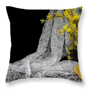 Lemons'n Lace Throw Pillow