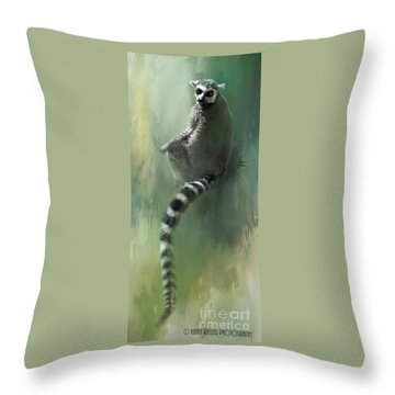 Lemur Catching Rays Throw Pillow