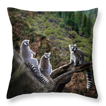 Lemur Family Throw Pillow