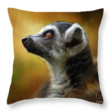 Lemur Throw Pillow by Kathy Russell