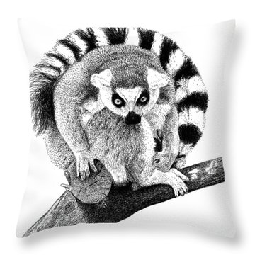 Lemur Throw Pillow