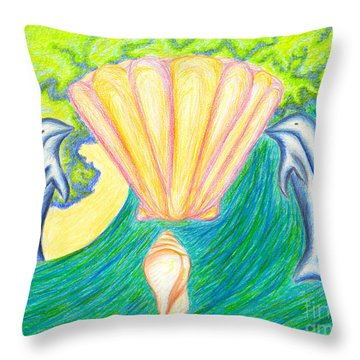 Throw Pillow featuring the drawing Lemuria Atlantis by Kim Sy Ok