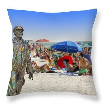 Lenin Goes To The Beach White Border Throw Pillow