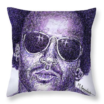 Lenny Kravitz Throw Pillow by Maria Arango