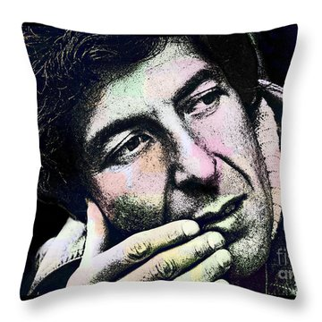 Leonard Cohen - Drawing Tribute Throw Pillow