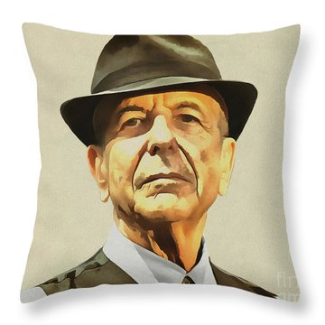 Leonard Cohen Throw Pillow by Sergey Lukashin