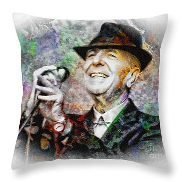 Leonard Cohen - Tribute Painting Throw Pillow