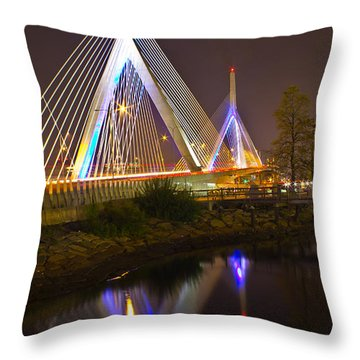Leonard P. Zakim Bunker Hill Bridge Reflection Throw Pillow