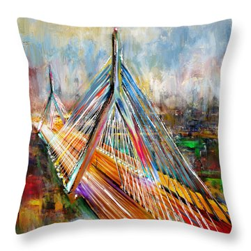 Leonard P. Zakim Bunker Hill Memorial Bridge 219 1 Throw Pillow