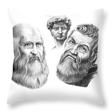 Leonardo And Michelangelo Throw Pillow by Murphy Elliott
