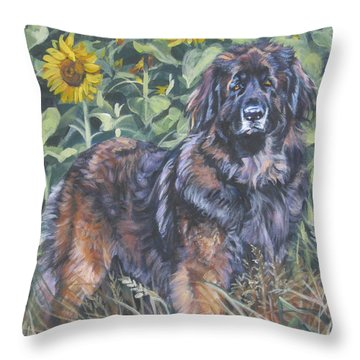 Leonberger In Sunflowers Throw Pillow by Lee Ann Shepard