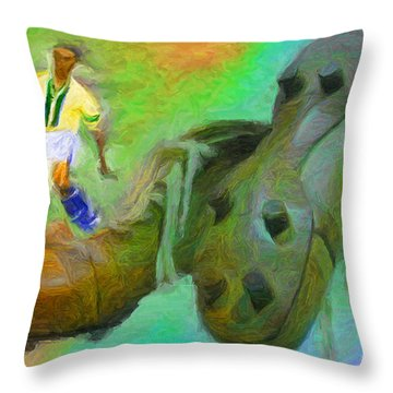Leonidas And Soccer Shoes Throw Pillow