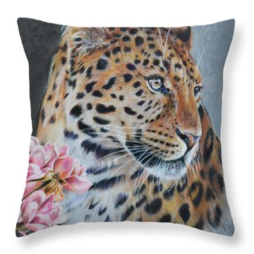 Leopard And Roses Throw Pillow
