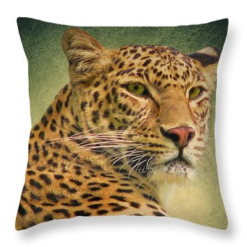 Leopard Throw Pillow by Angela Doelling AD DESIGN Photo and PhotoArt