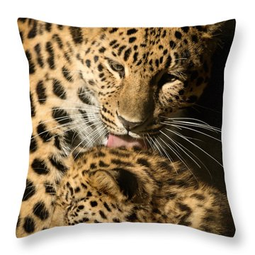 Leopard Cub Love Throw Pillow